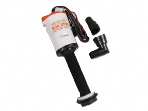 Live Bait Well Pump 12V 800GPH - Straight Tank Aerator Cartridge Bilge